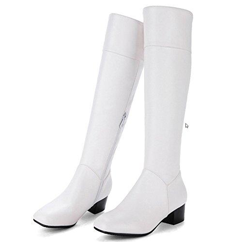 Women KemeKiss Heels Comrfort White Mid Block Boots High Long Knee PHv7Hx