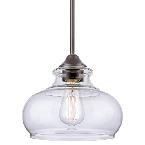 "Kira Home Harlow 9"" Modern Industrial Farmhouse Stem-Hung Pendant Light with Clear Glass Shade, Adjustable Hanging Height, Oil Rubbed Bronze Finish"