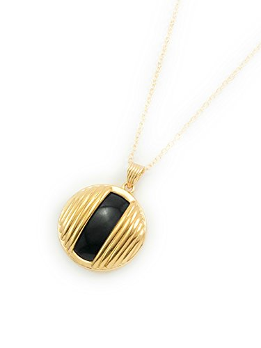 yuwei 24k Gold Plated Black Onyx Circle Pendant Necklace with Chain