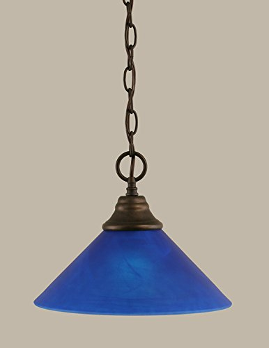 Chain Hung Pendant with Blue Italian Glass - Light Chain Hung Pendant