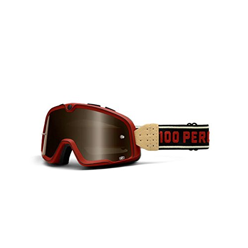 100% Barstow Adult Street Motorcycle Goggles - Red/Bronze Lens/One Size