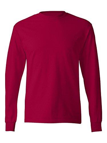 Hanes TAGLESS  Long-Sleeve T-Shirt,Deep Red,Medium