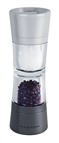 Combination Salt Shaker - Cole & Mason Lincoln Duo Salt and Pepper Grinder Combo, Acrylic Combination Mill Includes Premium Salt and Peppercorns
