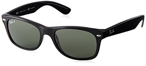 Ray-Ban New Wayfarer RB2132 Sunglasses Black / Crystal Green Polarized 55mm & Cleaning Kit - Polarized New Wayfarer 55