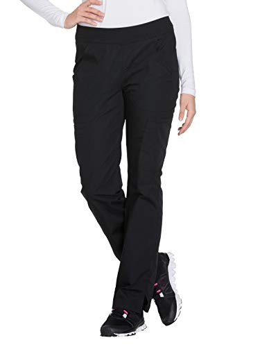 CHEROKEE Women's Mid Rise Straight Leg Pull-on Cargo Pant, Black, Small