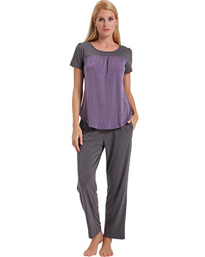 (ENIDMIL Womens Soft Cotton Pajama Set Short Sleeve Top and Long Pants Bottom Sleepwear Loungewear PJ Set (Purple, X-Large))