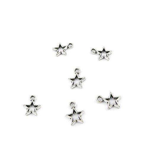 20 Pieces Antique Silver Fashion Jewelry Making Charms Findings WBDV0 Five-pointed Star Supplies Craft Vintage Bulk Retro DIY Lots Repair - Charms Star Findings