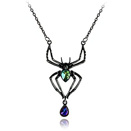 napafashion vintage halloween crystal rhinestone spider pendant necklace women jewelry gift