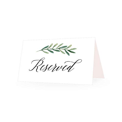 25 Greenery VIP Reserved Sign Tent Place Cards for Table at Restaurant, Wedding Reception, Church, Business Office Board Meeting, Holiday Christmas Party, Printed Seating Reservation Accessories Seat ()