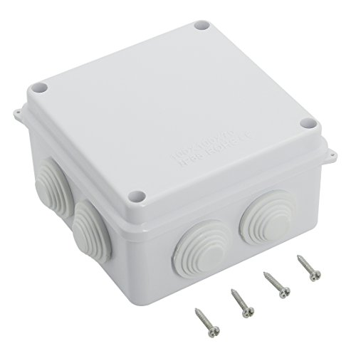 LeMotech ABS Plastic Dustproof Waterproof IP65 Junction Box Universal Electrical Project Enclosure White 3.9 x 3.9 x 2.8(100mmx100mmx70mm)