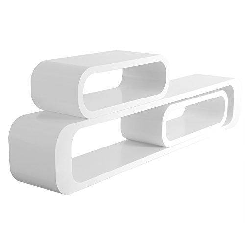 WOLTU RG9230ws Estante de Pared Cubo salon Conjunto de 3 Sistemas de estanterias de estanteria, estanteria Colgante Retro, 95/40/40 cm, Blanco