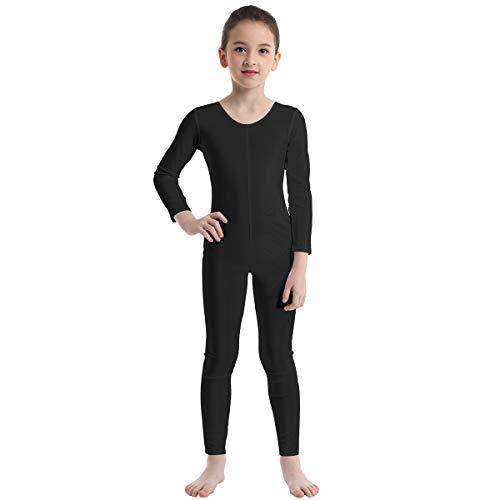 Black Cat Leotard (inhzoy Kids' Girls Long Sleeve Zentai Suit Unitard Jumpsuit Full Length Catsuit Bodysuit Dance Gymnastic Leotard Black)