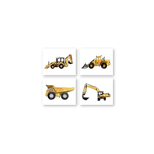 XianYuu Construction Vehicle Watercolor Boys Wall Art Canvas Painting Pictures Dump Truck Excavator Posters and Prints Kids Room Decor,A4 21x30 cm No Frame,PH2200220122022203 (Best Backhoe Loader In India)