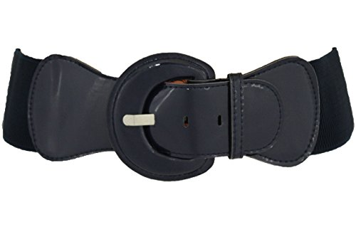 TFJ New Women Belt Hip Elastic High Waist Stretch Band Plus Size M L Xl Navy (Stretch Patent Buckle Belt)