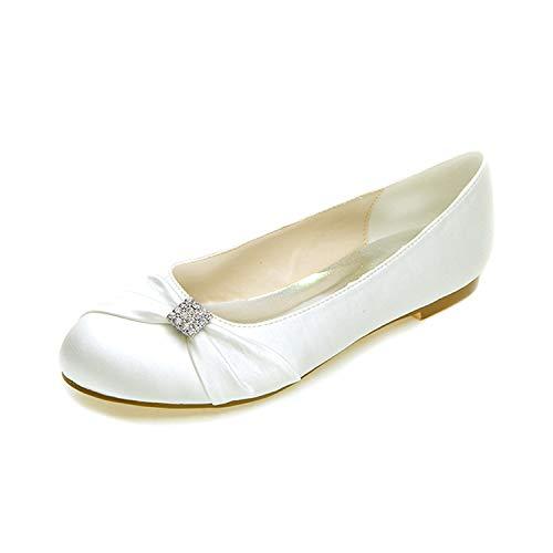 Tie Nupcial Cm Toe Tacones Zapatos Mujeres Ronda Otoño Chunky L 1 Boda yc Ribbon Ivory Satin Pisos XPtXq6