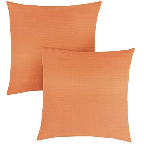 1101Design Sunbrella Canvas Tangerine Knife Edge Decorative Indoor/Outdoor Square Throw Pillow, Perfect for Patio Decor - Tangerine Orange 22