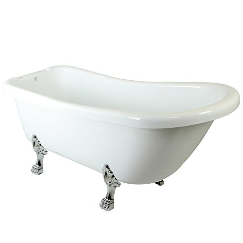 (Kingston Brass VTDE692823C1 69 inches Slipper Acrylic Tub with Chrome Constantine Lion Feet and 7 inches Centers Drillings, White - White/Tub Feet in Polished Chrome)