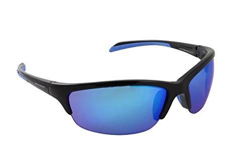 Optic Edge Daredevil Sunglasses, Shiny Black Semi-Rimless Frame, Blue Mirrored Polycarbonate - Sunglasses Edge Optic