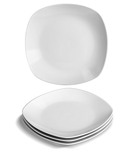 YHY 4 pcs 7.3-inch Porcelain Dessert/Appetizer Plates, White Square Plate Set (Small White Plate Square)