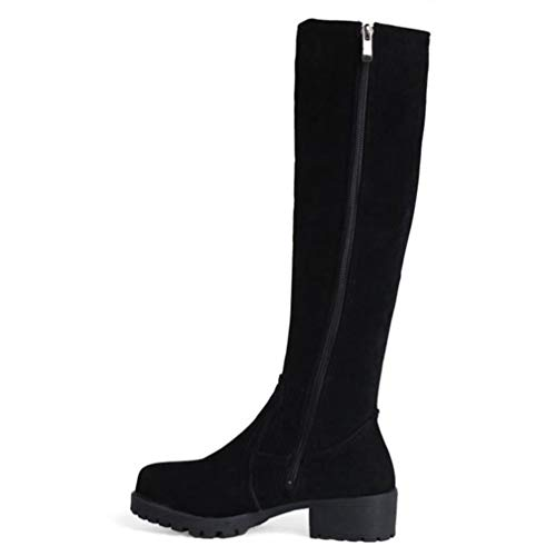 QSCQ Womens Knee High Snow Boots Metal Buckle High Heel Round Toe Thick Fur Lined Winter Boots