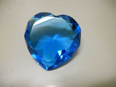 Crystal Glass Diamond (Heart) Cut Paperweight Amber (Ocean Blue)