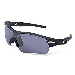 Leobuys Polarized Cycling Fishing Golf Sports Sunglasses (Black and Gray)