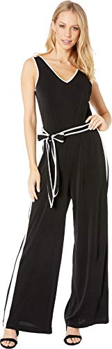 (eci Women's Sleeveless Color Blocked Jumpsuit with Belt Black/Ivory X-Small)