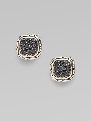 John Hardy Black Sapphire and Sterling Silver Small Square Earrings - Silver (John Hardy Black Sapphire)
