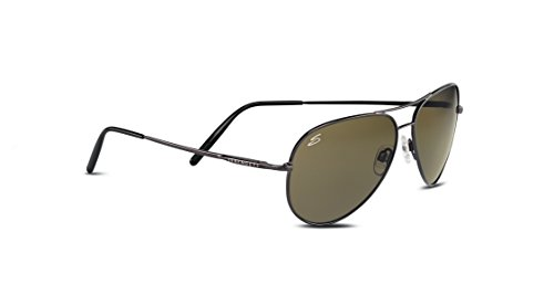 Serengeti Medium Aviator Sunglasses,Shiny Gunmetal