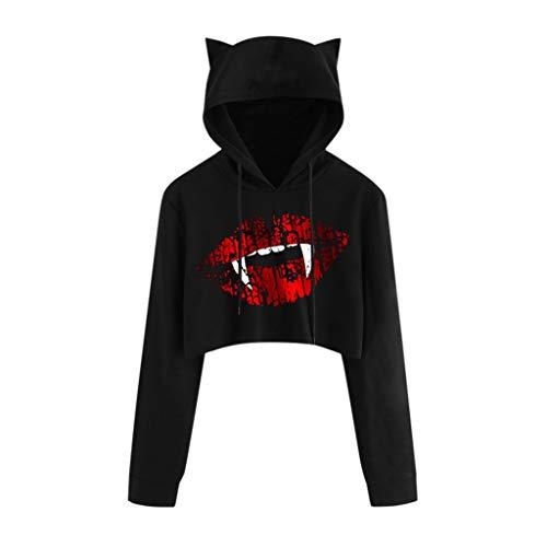 Bravetoshop Women Hoodies Cat Ears Halloween Gothic Punk Devil Teeth Printed Hooded Pullover Sweatshirt Black