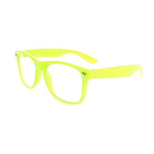 Neon Lens - FancyG Classic Retro Fashion Style Clear Lenses Glasses Frame Eyewear - Neon Yellow