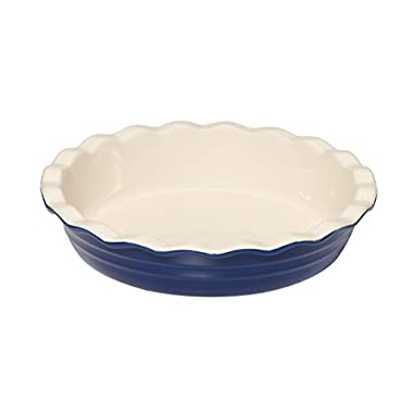 Baker's Advantage Ceramic Deep Pie Dish, 9-1/2-Inch, Blue