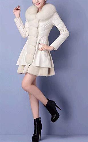 De Invierno Grande Manga Larga Termica Fashion Cuero Vintage Espesar Con Largos Slim Blanco Piel Cuello Talla Fit Parkas Mujer Chaqueta fY8wdqxY7