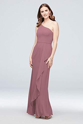 One-Shoulder Chiffon Bridesmaid Dress with Cascade Style F20011, Quartz, 10