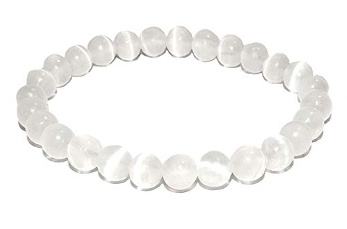 - 10mm Selenite Bracelet 01 Natural High Vibration Healing Crystal Energy (Gift Box) (6 Inches)