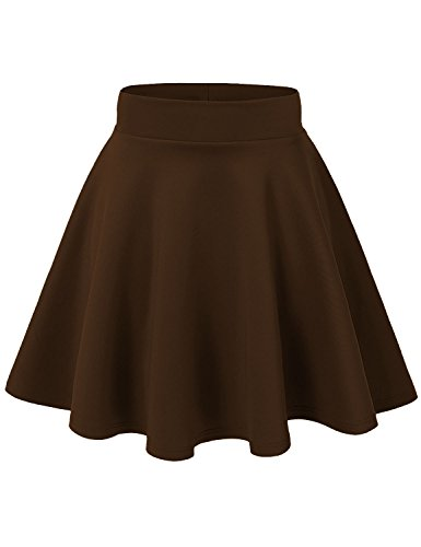 J Doe Style Women's Basic Stretchy Flared Skater Skirt , XL, Brown (Brown Pleated Skirt)