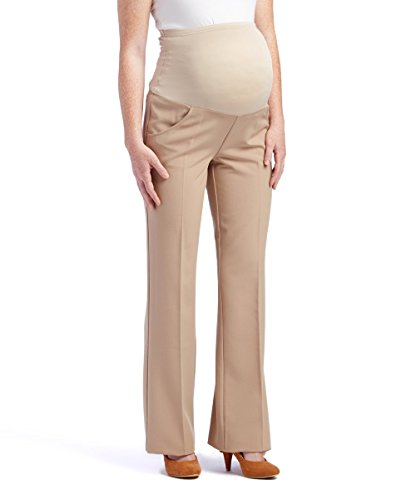 Times Two Maternity Women's Flare Leg Dress Pants (Small, Khaki)