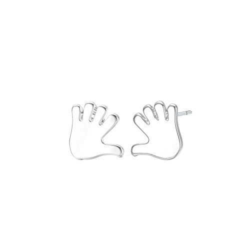 (CHUYUN Stylish Metal Finger Nails Gold Silver Palm Earrings, Hand Stud Earing Minimalist Jewelry Simplicity Handmade Personality Earrings Chic Statement Palm Ear For Women Girls (silver))