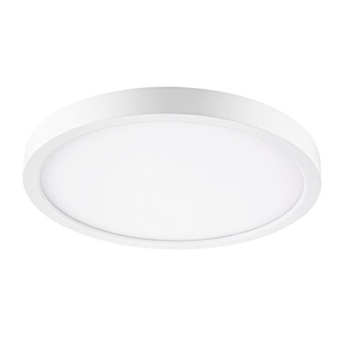 GetInLight Round 10-inch Dimmable Flush Mount Ceiling Fixture, (2nd Generation), 17 Watt, White Finish, 3000K Soft White, 100W Replacement, Damp Location Rated, ETL Listed, IN-0306-3-WH