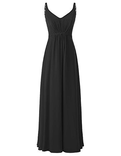 Alagirls Longues Robes De Bal En Mousseline De Soie De Femmes Robes De Fête De Mariage Avec Le Noir Appliqué