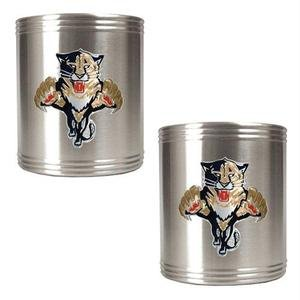 - NHL Florida Panthers Two Piece Stainless Steel Can Holder Set- Primary Logo
