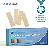 Aroamas Professional Silicone C-Section Scar Removal Sheets, Soft Adhesive Fabric Strips, Drug-Free, Relieves Itching, Remove Keloid Scars, Acne. 5.9'  1.57', 4 pcs (2 Month Supply), Beige