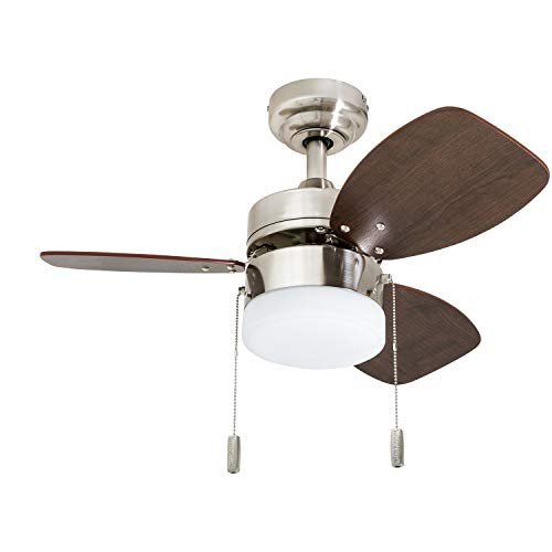 "Honeywell Ceiling Fans 50601-01 Ocean Breeze Contemporary, 30"" LED Frosted, Light Oak/Satin Nickel Finish Blades, Brushed"