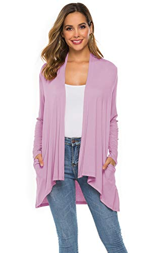 Women's Casual Long sleeve Open Front Lightweight Drape Cardigans With Pockets (US XL(16-18), Red Bean - Bean Plus