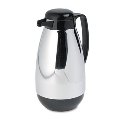 Vacuum insulation keeps liquids hot or cold for hours. - HORMEL CORP Vacuum Glass Lined Chrome-Plated Carafe, 1L Capacity, Black Trim