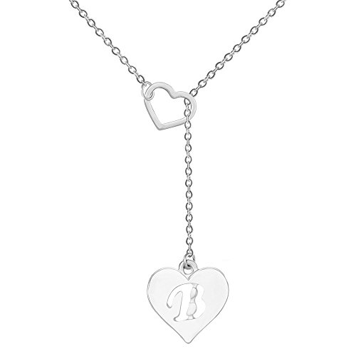 SENFAI Long Necklace Heart Shaped Y Necklace with 26 Initial Alphabet Letters for Women, 18 + 2 inches (B, Rhodium/Silver)