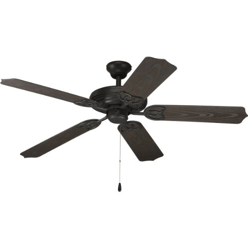 Progress Lighting P2502-80 52-Inch Indoor/Outdoor 5 Blade Fan with Toasted Oak Blades, Forged Black