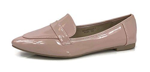 Fashion Slip On Loafers Closed Toe Low Heel Runs 1 Full Size Small, Nude Blush Patent, - Fun Nude Run