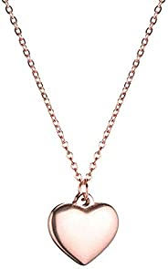 WangGao Stainless Steel Heart Pendant Necklace for Women Love Charms Chain Jewelry for Girls