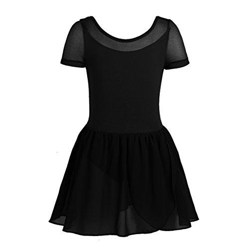 Agoky Girls Backless Ballet Dancewear Gymnastics Leotard Tutu Dress Costumers Black 2-3 ()